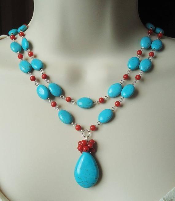 Turquoise Skull Pendant Necklace Dangle Charm Necklace Charm Necklace Gift for Her Bead Charm Necklace Long Gold Charm Necklace