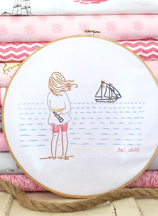 Be Still, one of Sarah Jane's beautiful new embroidery patterns from her Out To Sea line