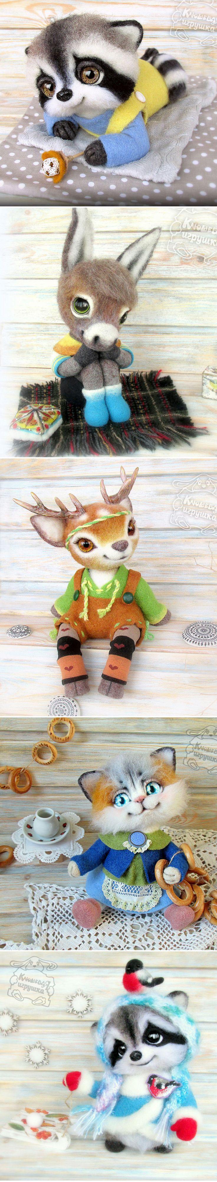 Felted Toys | Валяные игрушки в магазине Светланы Клюшевой — Купить, заказать, игрушка, валяние, валяный, енот, ослик, котик, котенок, кот, ручная работа