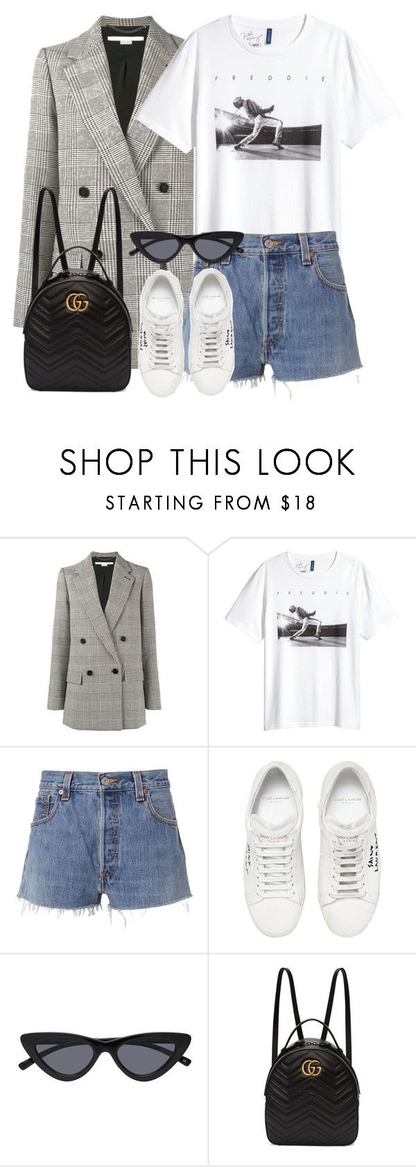 """""""Untitled #3333"""" by elenaday on Polyvore featuring STELLA McCARTNEY, H&M, RE/DONE, Yves Saint Laurent and Gucci"""