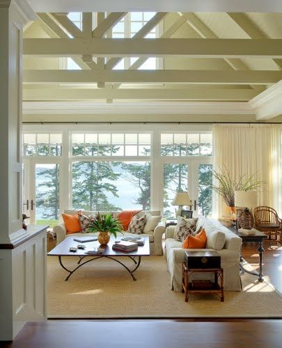 Hamptons Shingle Style Homes.  Fabulous beach house timbered vaulted ceiling painted white, massive windows