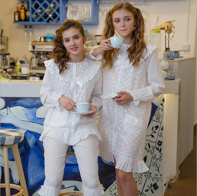 Nightgowns Warm Sleepwear Sexy Cotton Nighties female long-sleeve pyjamas women bath Robe kimono Girl Lovely Long Nightgown