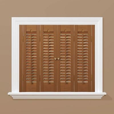 Homebasics traditional faux wood oak interior shutter price varies by size qstb2936 at the for Window shutters interior prices