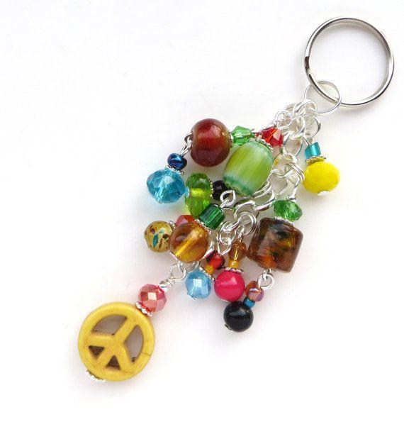 RADIANTE de paz - signo de la paz clave cadena de turquesa, perlas checas, Chevron granos, cristales de Swarovski y bolas de plata de cuentas