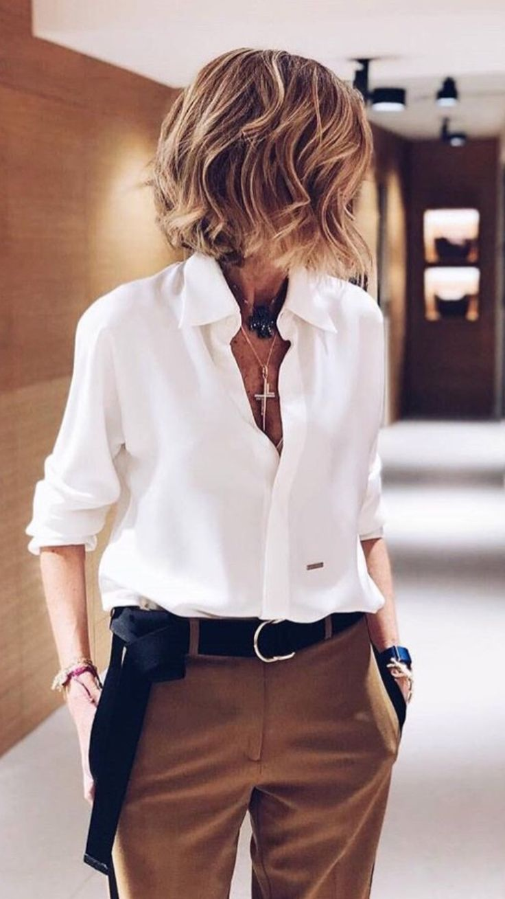 Brown trousers, white button down