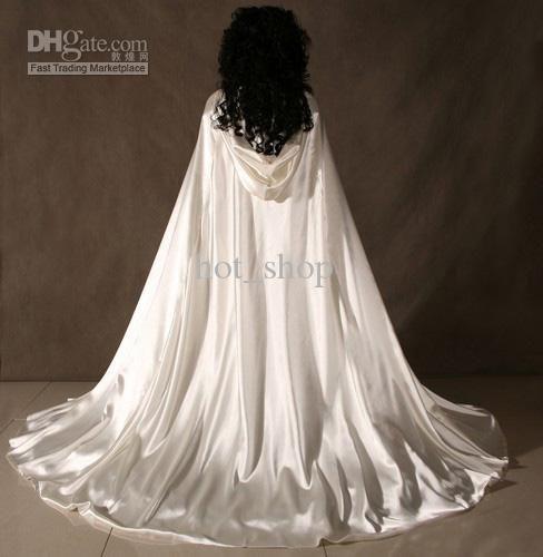 Medieval Wedding Dress Bridal Gown Silk Wedding Dress: White Satin Cape Cloak Medieval Renaissance Wedding