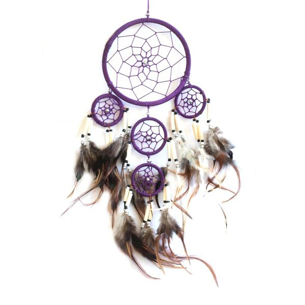 """9cm Dream catcher with white bone and silver bead accents plus 3 smaller circles attached with an approx length 35cm (12-14"""") comes in 4 colours  11.00"""