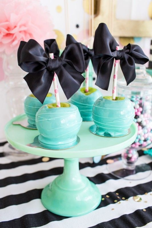 Cue the Confetti Party, sequins, stripes, glitter, tassels, gold, black bows, caramel covered aqua apples, sprinkles  #party #kidsparty #birthdayparty