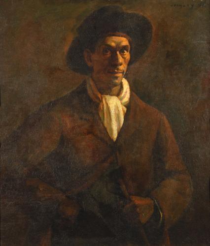Czigány Dezső (1883-1938)  Kalapos önarckép, 1917  Olaj, fa, 94x84 cm