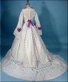 circa 1860s Trained White Fine Linen 2-piece Gown Trimmed in Purple Ribbon - Civil War Era.