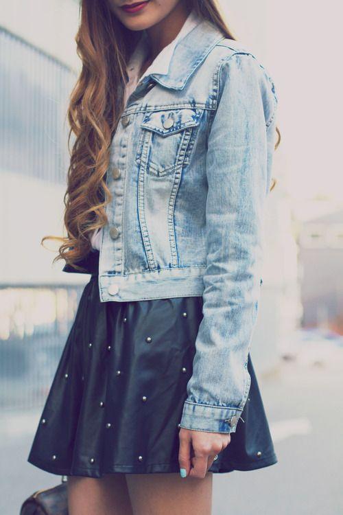 Black studded skirt, denim jacket.