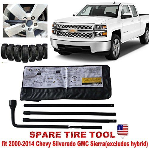 NEW Spare Tire Tool Wheel Lug Wrench Kit For Chevy Silverado 1500 / GMC Sierra 1500 With Carry Case  This tire kit is designed for 2000-2014 Chevy Silverado & 2000-2014 GMC Sierra. (excludes hybrid)  Black Powder Coat Heavy Duty Steel. Rustproof and Easy