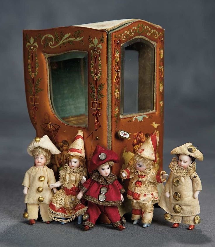 """""""The Voyage Continues"""" - Saturday, January 7, 2017: 212 French All-Bisque Mignonettes in Festival Costumes with Miniature Sedan Chair"""