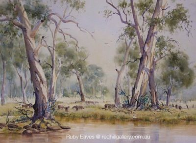 """Ruby Eaves watercolour painting """"Summer Country"""" Red Hill Gallery, Brisbane. redhillgallery.com.au"""