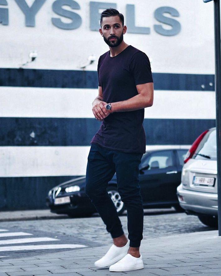 Tシャツ,スウェットパンツ,スリッポンスニーカー,メンズファッション着こなしコーデ