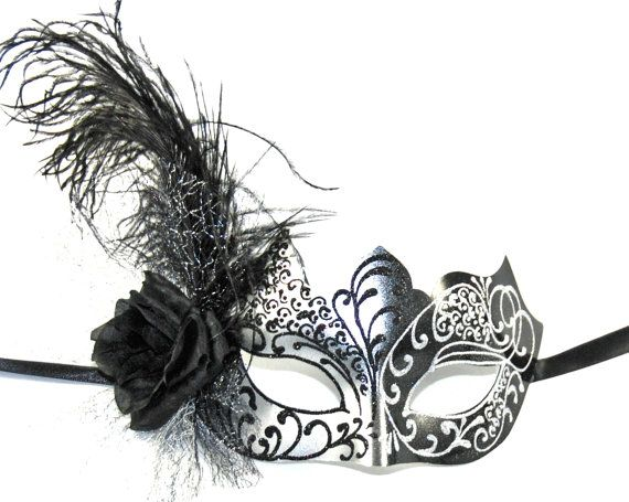 Black & Silver Masquerade Mask. Perfect for themed weddings, Halloweeen or costume party! Madamemerrywidow.etsy.com Use coupon code PINTEREST14 for free shipping!