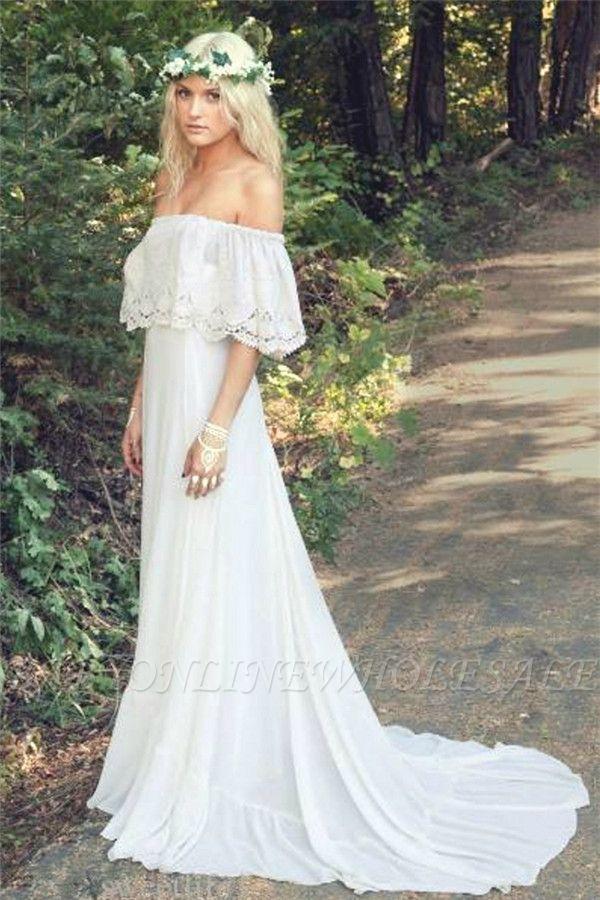 f4f6c3d30c6f Off The Shoulder Bohemian Wedding Dresses Lace Summer Beach Wedding Gown  BO6883 | www.babyonlinewholesale.com