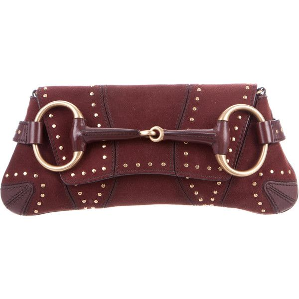 Pre-owned Gucci Embellished Suede Horsebit Clutch ($445) ❤ liked on Polyvore featuring bags, handbags, clutches, brown, brown suede purse, suede purse, brown handbags, brown suede handbag and studded clutches