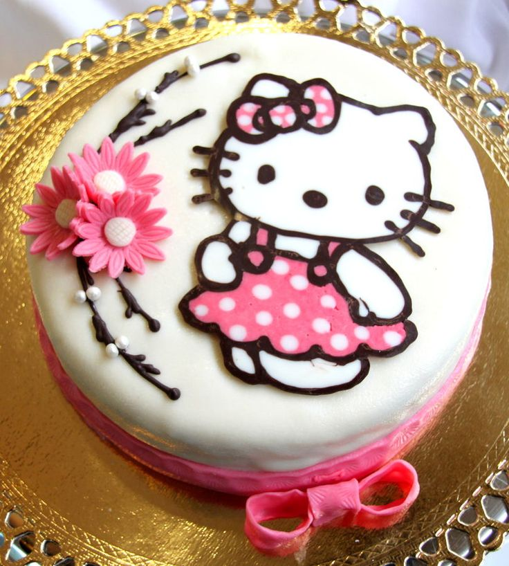 Hello Kitty Cake.  This is an adorable concept.    I would def switch it up to buttercream.  I like the colors in the transfer cupcakes better.  Definitely prefer pink as the base color.  And whoever did this transfer didn't reverse the image.  Hello Kitty's bow should be on the other side.