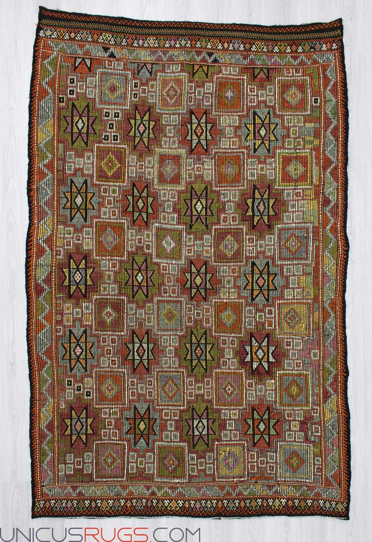 """Handwoven vintage decorative embroidered kilim rug from Denizli region of Turkey. In very good condition. Approximately 45-55 years old. Width: 6' 1"""" - Length: 9' 3"""" Embroidered Kilims"""