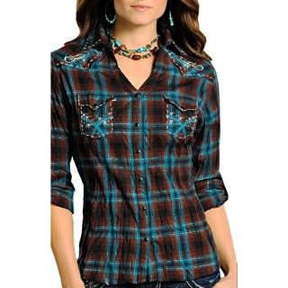 Panhandle Slim Lurex® Ombre Plaid Western Shirt - Snap Front, Long Sleeve (For Women) in Teal