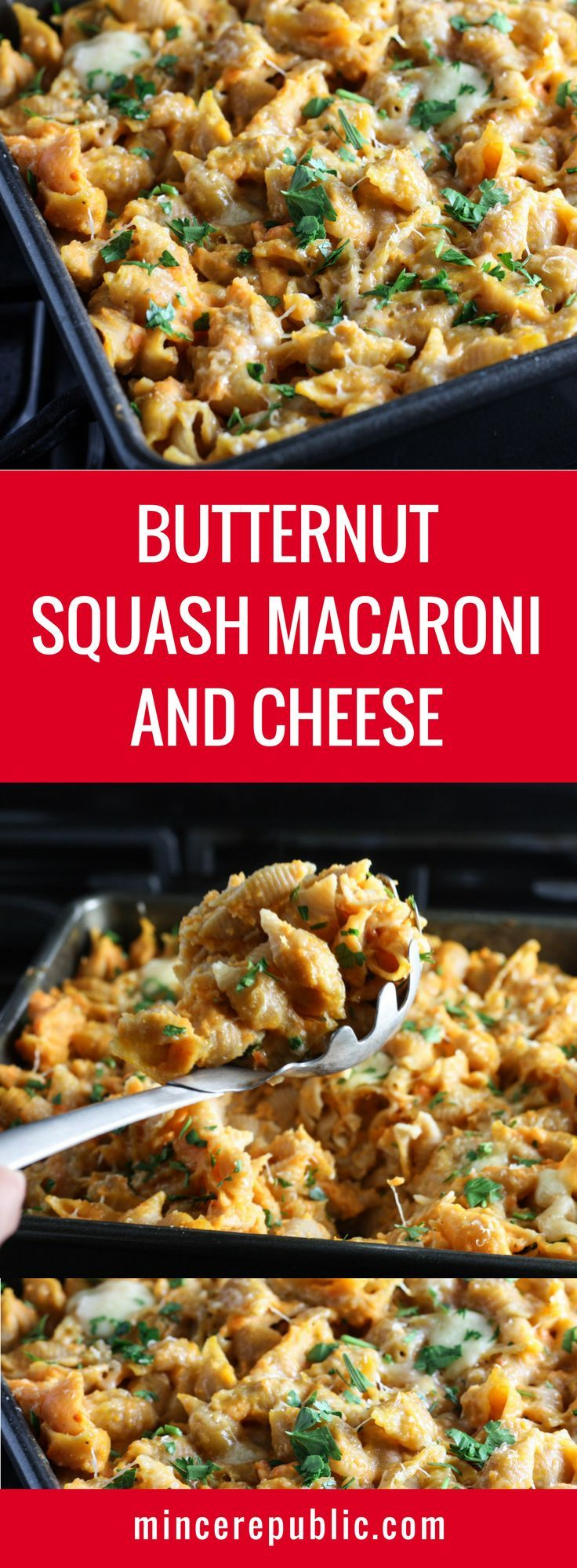 Healthy Butternut Squash Macaroni and Cheese made with whole wheat noodles and a cheese sauce made with Butternut Squash, Cauliflower, Carrots and Cheddar. A healthy twist on a classic favorite. | mincerepublic.com