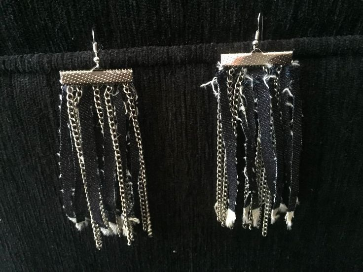 Denim earrings with chains, jean earrings, fabric earrings, Blue Jean Earrings by pacforme on Etsy