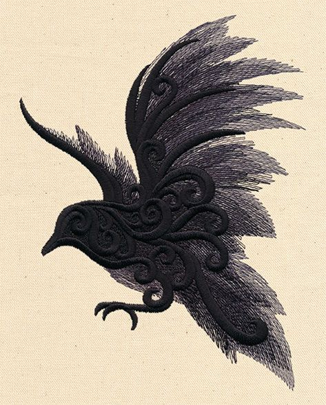 Painted Raven | Urban Threads: Unique and Awesome Embroidery Designs