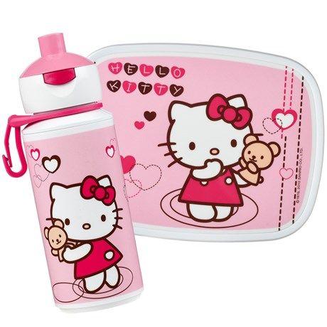 Matboks og vannflaske med søte Hello Kitty-motiv!