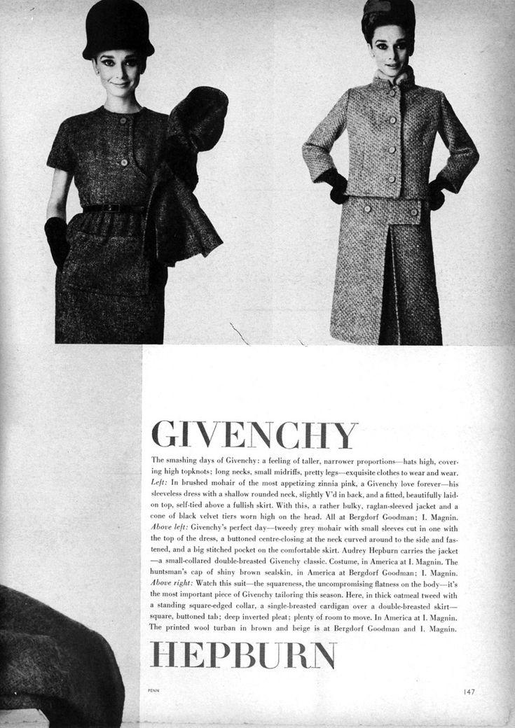 audrey hepburn modeling givenchy in vogue us november 1. Black Bedroom Furniture Sets. Home Design Ideas