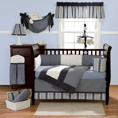 3pc Striped Grey White Black Blue Amp Navy Solid Color Crib