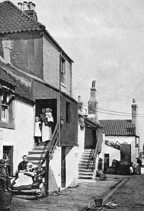Old travel Blog photograph of houses and fishwives on Wester Close in Newhaven in Edinburgh , Scotland . This Scottish village played a par...