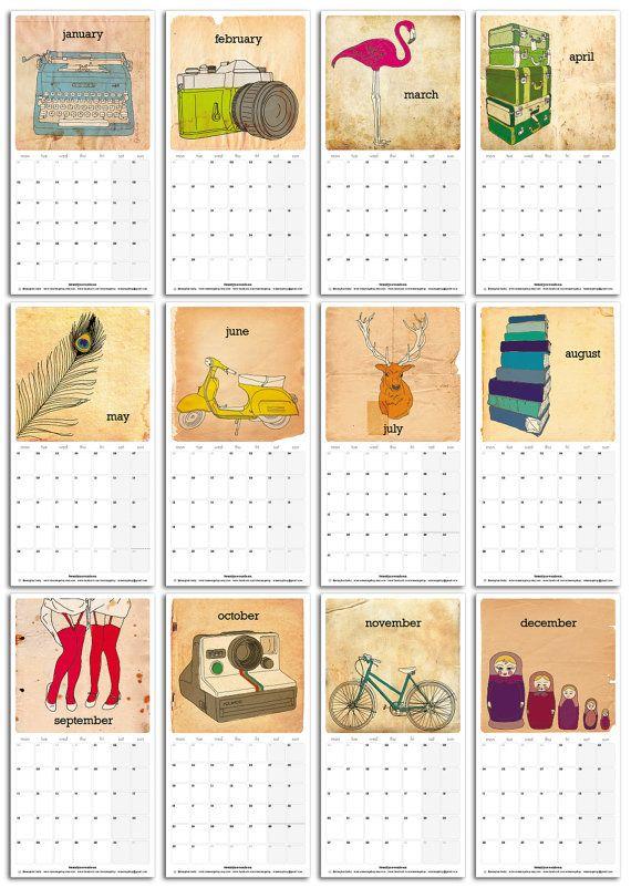 2017 Calendar - Loose Sheets - 145 x 285mm / 5.7 x 11.2in
