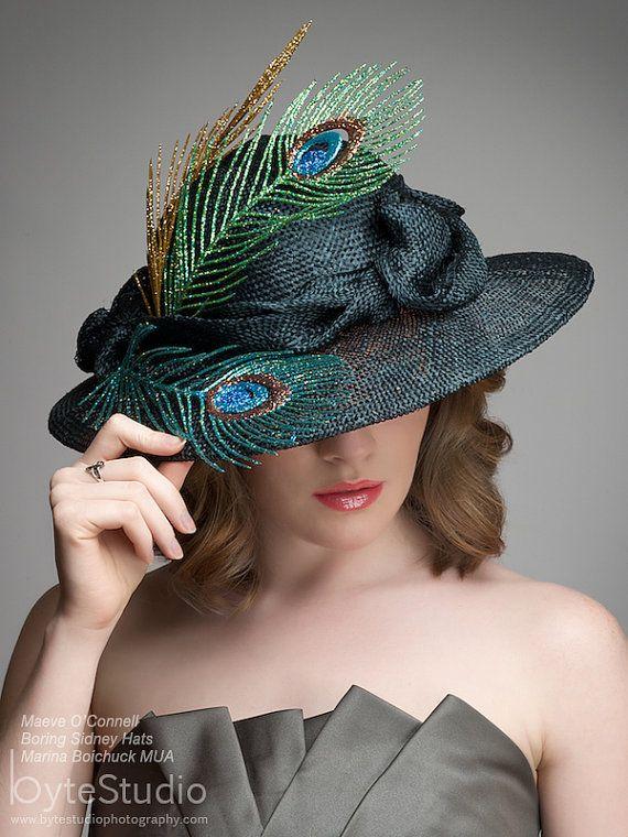 Black Straw Hat   Kentucky Derby Hat  Sinamy Hat  by BoringSidney, $170.00