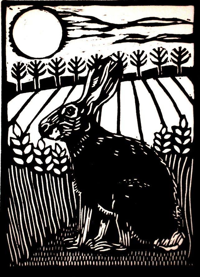 Hare, lino print   by Helen Maxfield