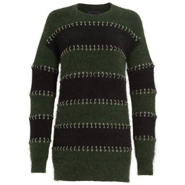 Women's Alexander Wang Pierced Wool & Angora Blend Rugby Dress ($1,295) ❤ liked on Polyvore featuring dresses, black, wool dresses, wet look dress, sporty dresses, alexander wang and rugby stripe dress