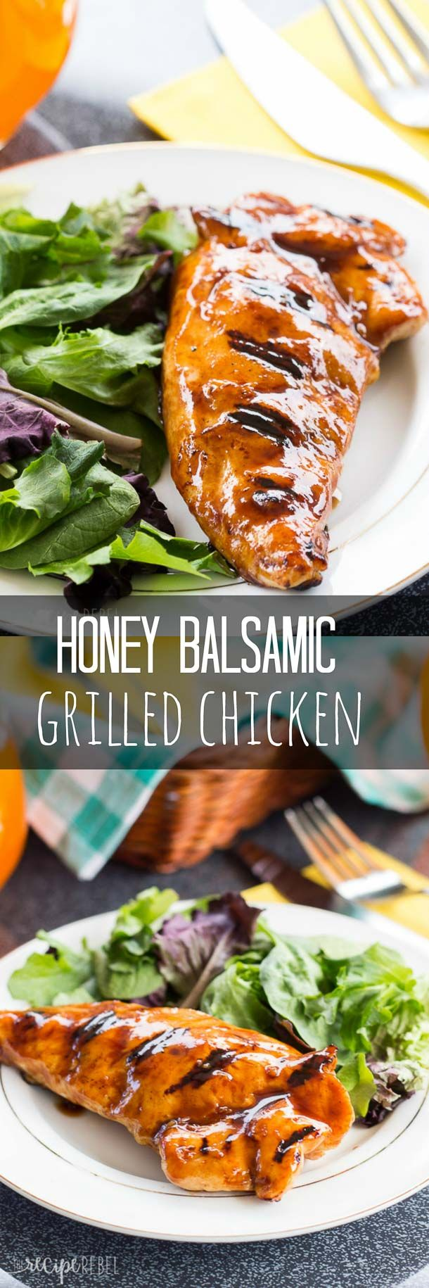 Honey Balsamic Grilled Chicken: Perfectly moist grilled chicken in a sweet and tangy honey balsamic sauce -- a great way to spice up your grilling this summer! www.thereciperebel.com