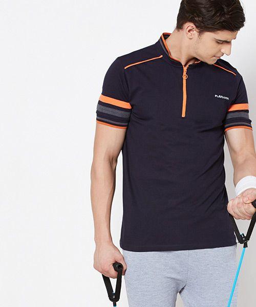 Yepme NavyBlue Brendon High Performance Polo T-Shirt #T-Shirt