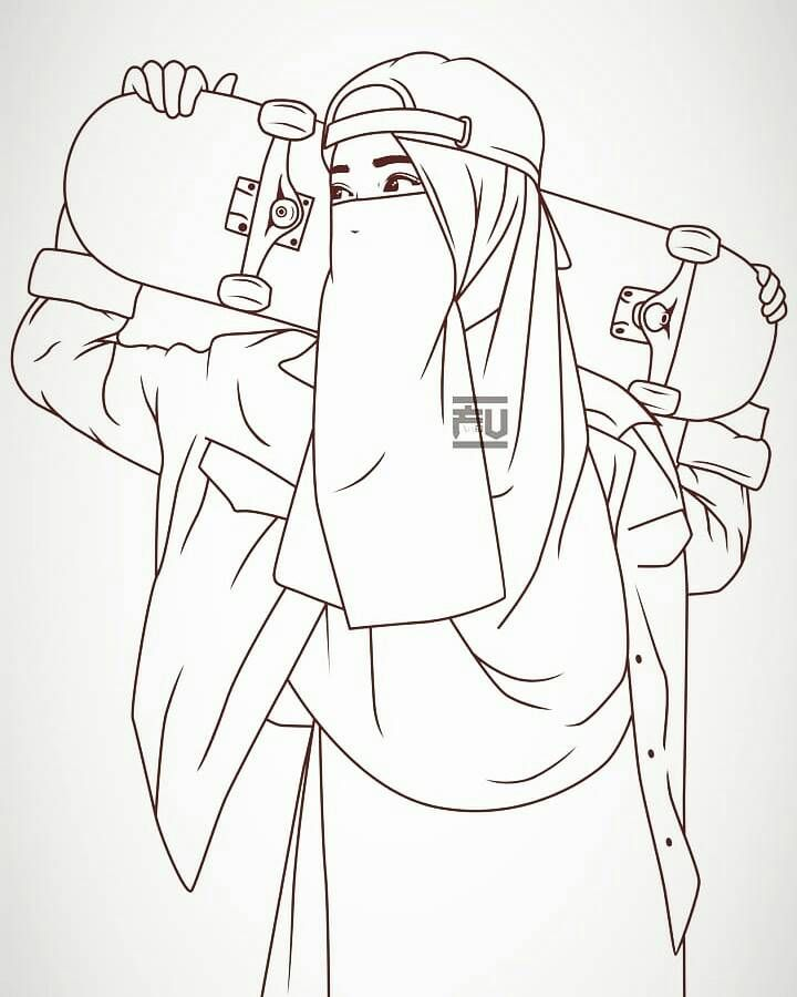Hijab Vector Niqab Lineart Ahmadfu22 Dengan Gambar Sketsa
