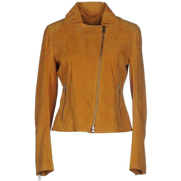Mabrun Jacket ($425) ❤ liked on Polyvore featuring outerwear, jackets, camel, genuine leather jacket, real leather jacket, leather zip jacket, camel leather jacket and multi pocket jacket