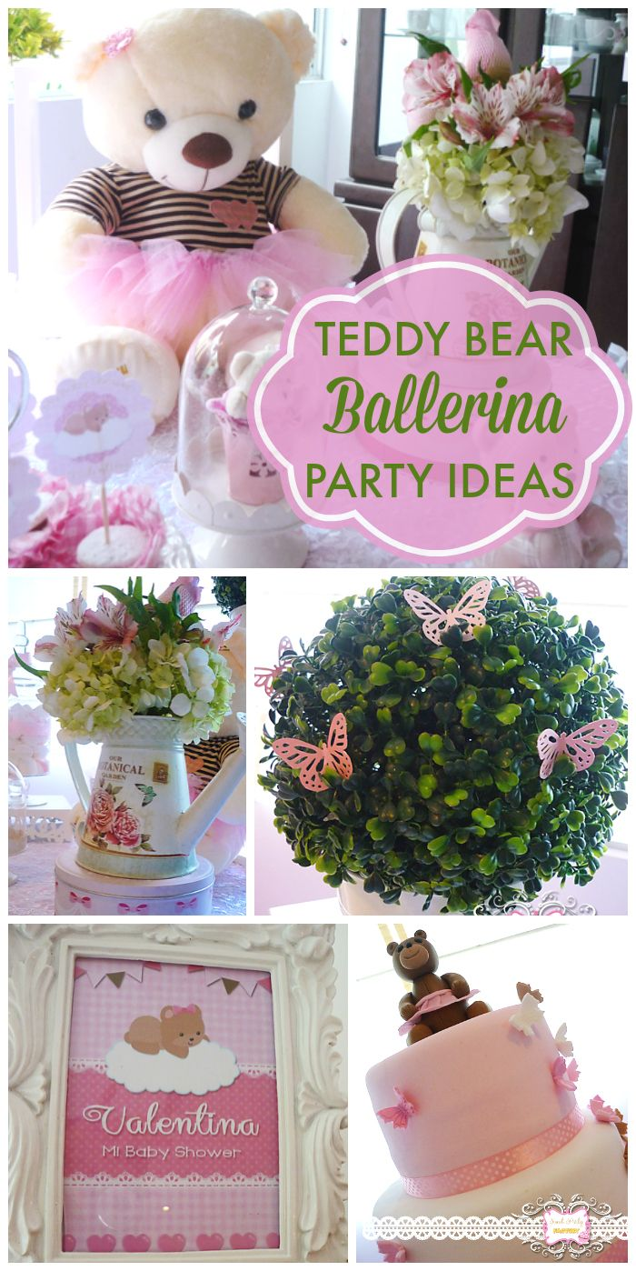 Teddy bears in tutus are featured at this adorable, pink baby shower!  See more party ideas at CatchMyParty.com!