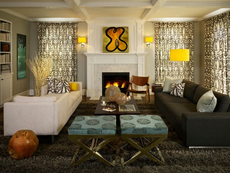 Modern Living Room Ideas With Stylis Black White Sofa And Yellow Drum Lamp  Shades, Read