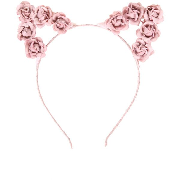 Hot Topic LOVEsick Pink Rose Cat Ears Headband (£3.97) ❤ liked on Polyvore featuring accessories, hair accessories, rose hair accessories, rose headband, head wrap headbands, pink rose headband and hair band headband
