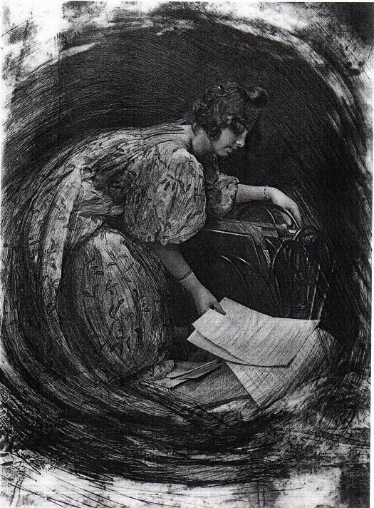 Robert Demachy, La Femme au porte-dessins ou Composition tournante (1905).