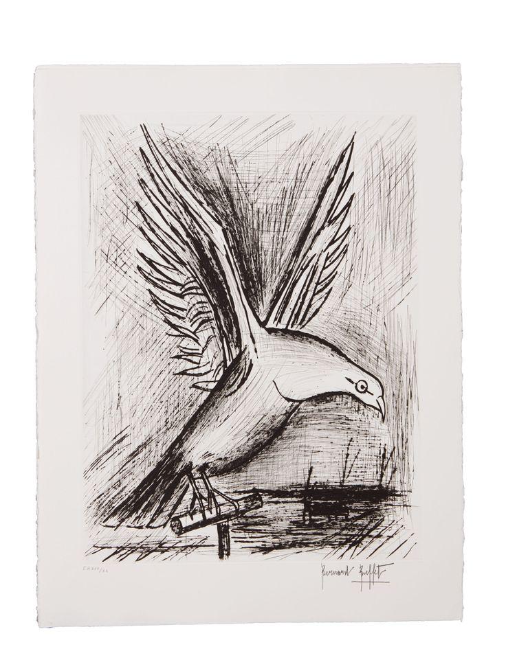 BUFFET Bernard (1928-1999) Pigeon – Pigeon devant une coupe  Pointes sèches en noir, épreuves signées annotée E.A XV/ XX, XVII/XX en dehors du tirage numéroté.  Sold 850 € on www.artprecium.com #ArtAuction