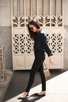 all black everything with pointy toe slingback flats