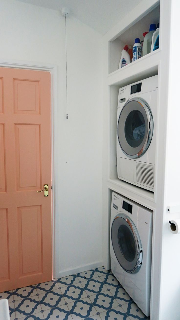 Our bathroom makeover and space saving idea to house our washer and dryer!