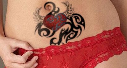 stomach-tattoos-tribal-heart