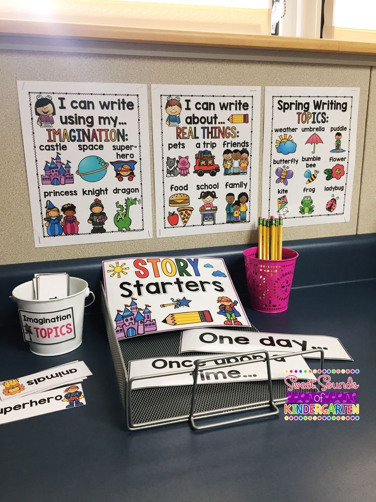 This is a year long writing unit to help you teach your students creative writing or story writing. This pack includes anchor charts, story journals, topic cards & center activities! writing unit   kindergarten   first grade   learning   activities  centers