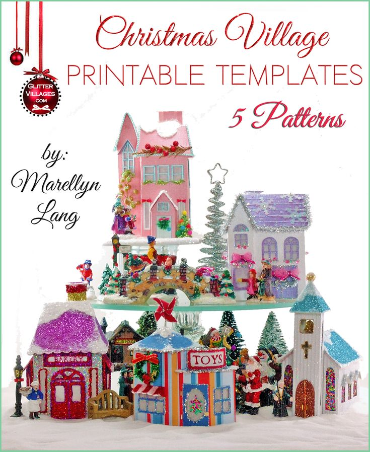 5 Christmas Village house templates to print. DIY with paper, similar to the nostalgic Putz houses